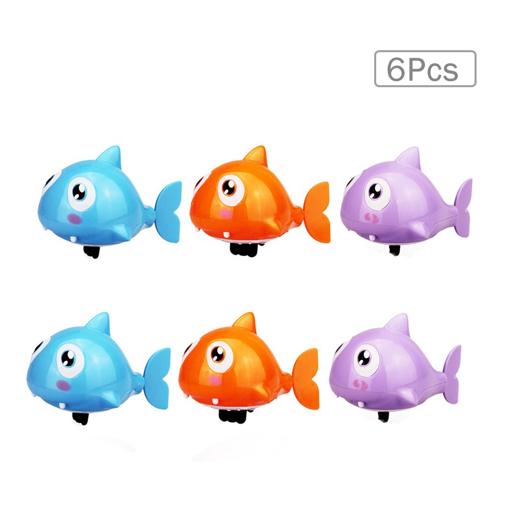Cute Water Shark Shaped Plastic Baby Fun Water Bath Toys Swimming Toy Educational Clockwork Wind Up Animals Bathtub Toy Classical Floate Toy for Baby Toddlers Kids(6 pcs,Random Color) by Sealive