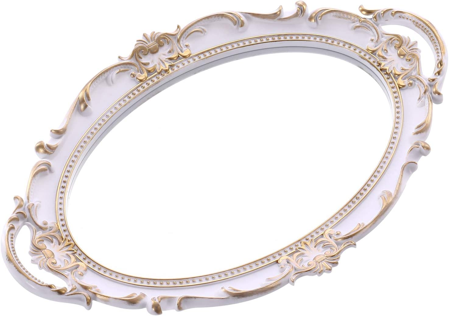 Sooyee Decorative Mirror Tray,Gold Mirrored Tray Ornate Jewelry Perfume Organizer and Display,Makeup Tray for Vanity, Dresser,Bathroom, Serving Tray with Handle,9.8 x 14 Inch,White and Gold