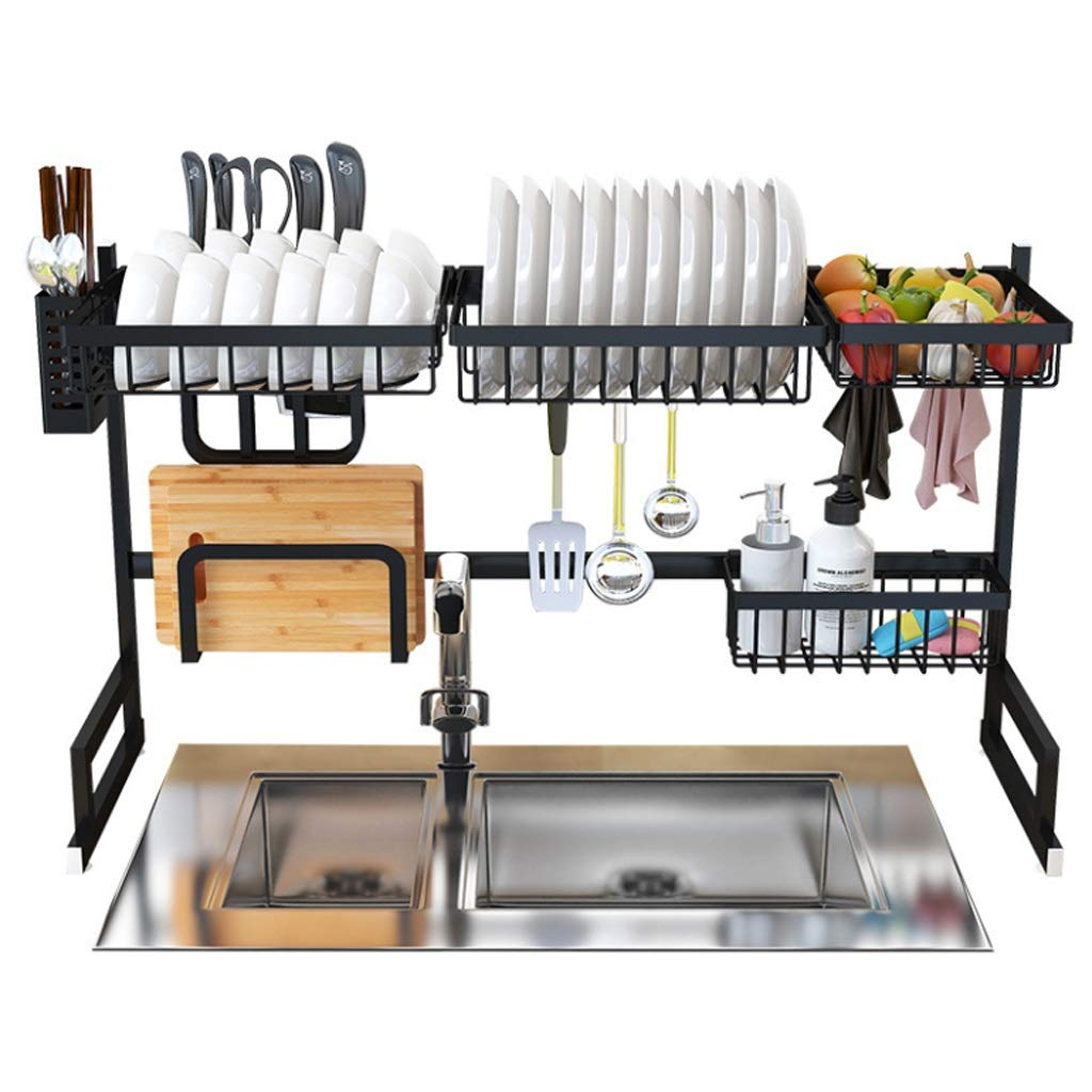 ASIERY Stainless Steel Rack Double Shelf Kitchen Organizer and Storage Over The Sink -Black by ASIERY