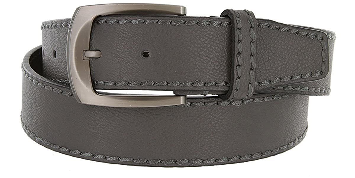 Pele Belt Men 1-1//2 Wide Soft Genuine Leather Stitched Gunmetal Buckle