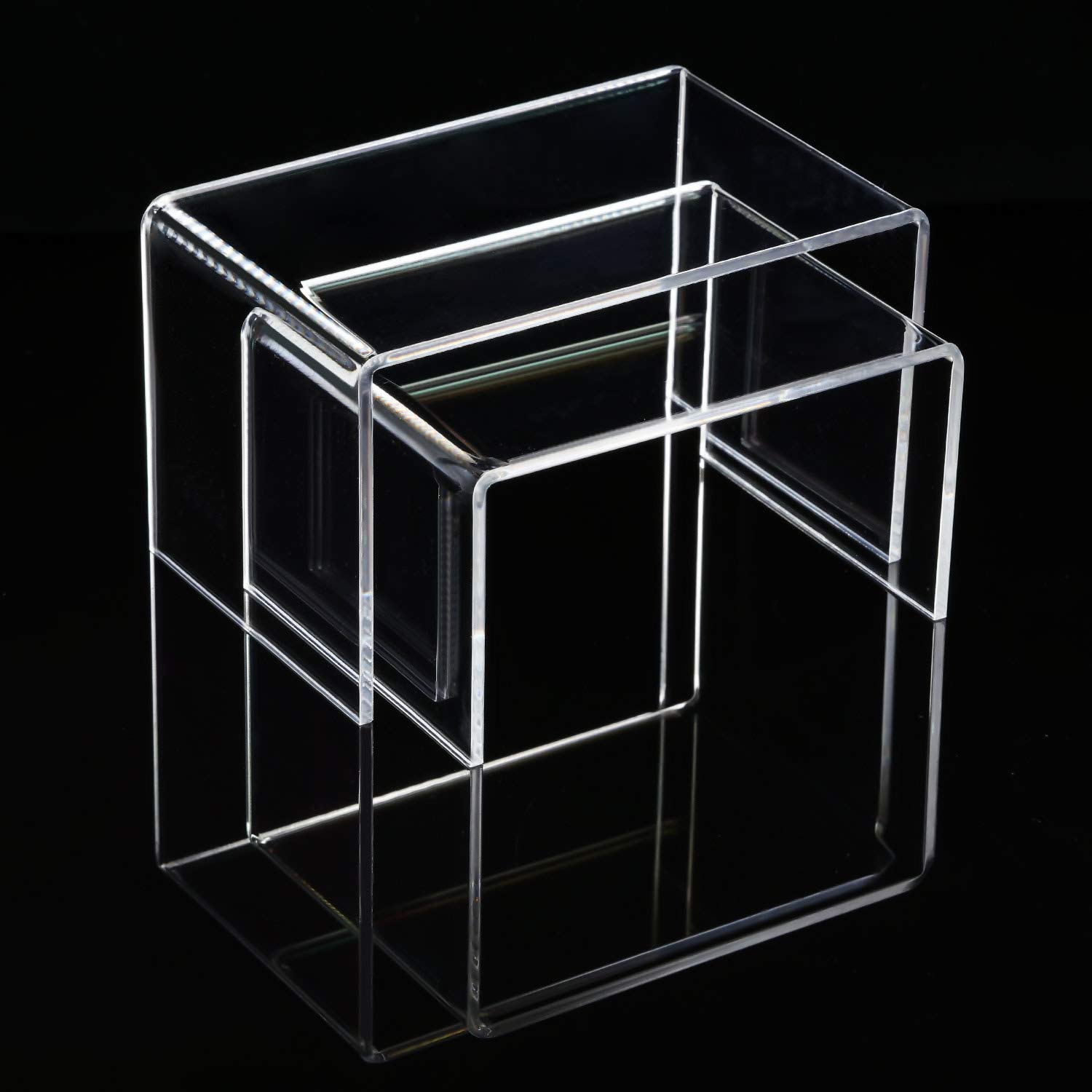 Chuangdi 4 Pieces Clear Acrylic Display Risers, Jewelry Display Risers Showcase Fixtures, Tear Off The Protective Film Before Use (4.1 Inch and 5 Inch) by Chuangdi (Image #4)