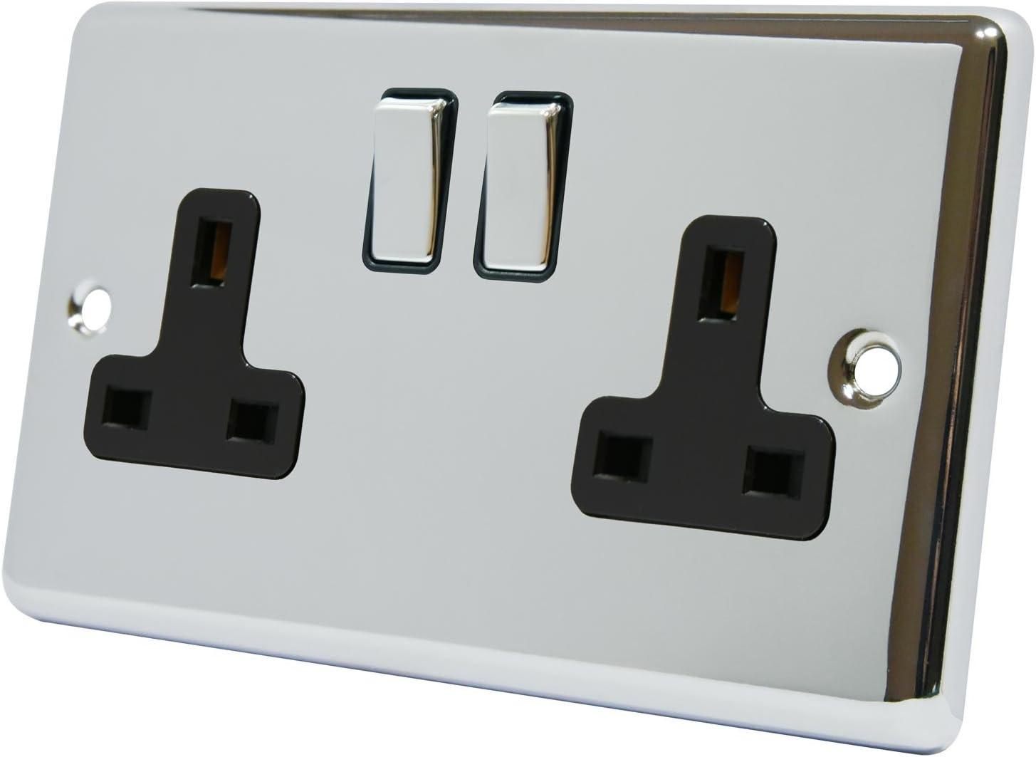13A Double Plug Socket Polished Chrome Classic Wall Socket 2 Gang Metal Rocker Switch Black Insert