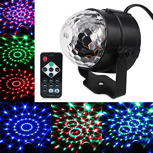 Mini Laser Stage (Mini RGB 3W Crystal Magic Ball Led Stage Lamp DJ KTV Disco Laser Light Party Lights Sound IR Remote Control Christmas Projector)