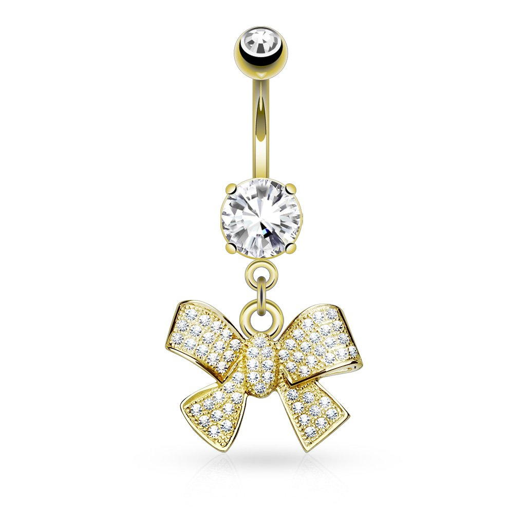 Sold by Piece Micro Paved CNC Set CZ Ribbon Dangle 316L Surgical Steel Belly Button WildKlass Navel Rings