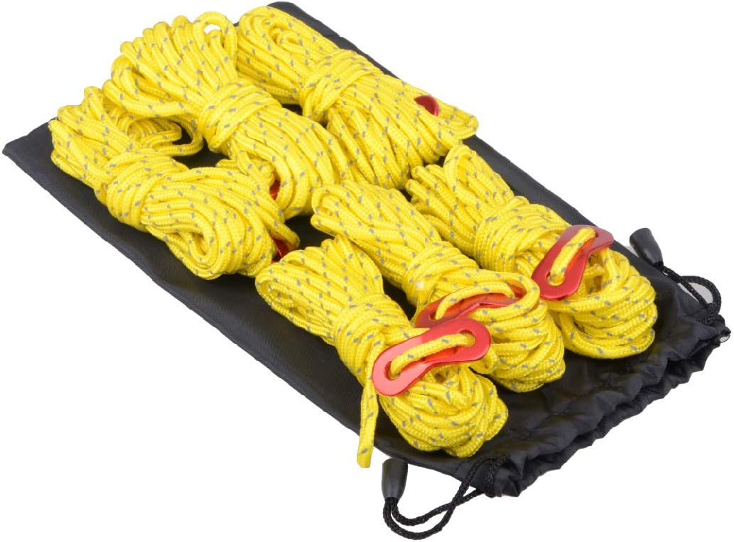 TRIWONDER Tensores con Cuerda Paracord de Nylon Reflexiva Durable para Tiendas de Campa/ña Toldo al Aire Libre