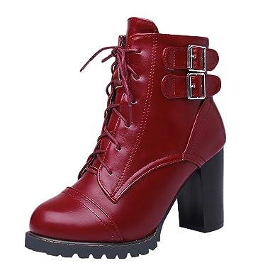 YE Damen Chunky High Heels Stiefeletten Blockabsatz Plateau mit Schnallen  Schnürung 9cm Absatz Herbst Winter Schuhe