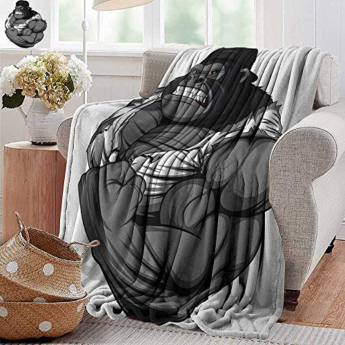PearlRolan Cool Blanket,Cartoon,Image of Big Gorilla Like as Professional Athlete Bodybuilding Gym Animal,Black White Grey,for Bed & Couch Sofa Easy Care 70