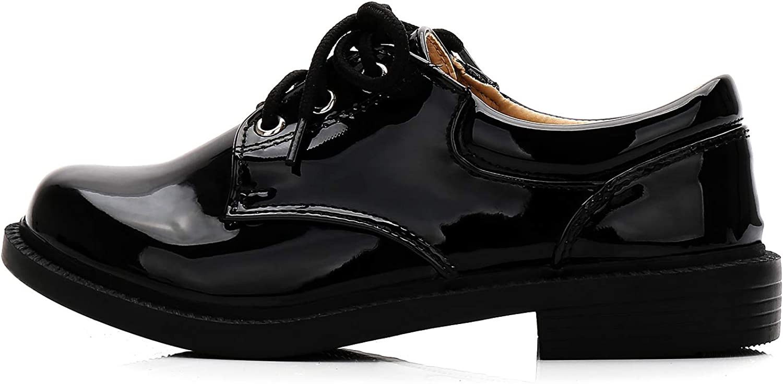 XIPAI Boys Shiny Tuxedo Shoes Kids Patent Leather Dress Oxford Shoes