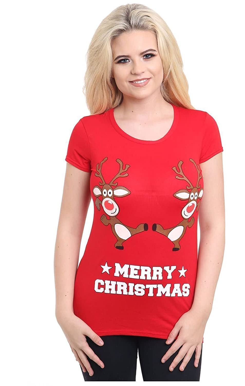 ZEE FASHION Women's Ladies Xmas Christmas Rudolph Glitter Nose Print T Shirt Top UK 8-26