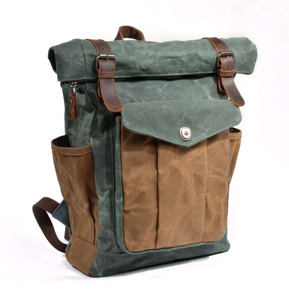 Luxury Vintage Canvas Rucksack Rucksack Rucksack Männer Oil Wax Canvas Leder Rucksack Large Waterproof Backpack Vintage Backpack B07QGBCXM2 Daypacks Bestseller 09e9a3