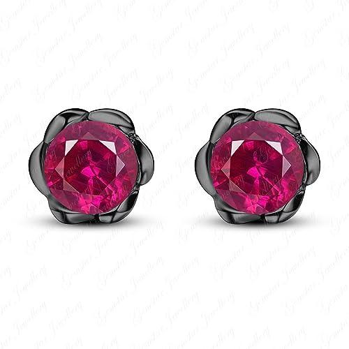 Gemstar Jewellery 14K White /& Black Gold Finish Heart Shape Cubic Zirconia Screw Back Halo Stud Earrings