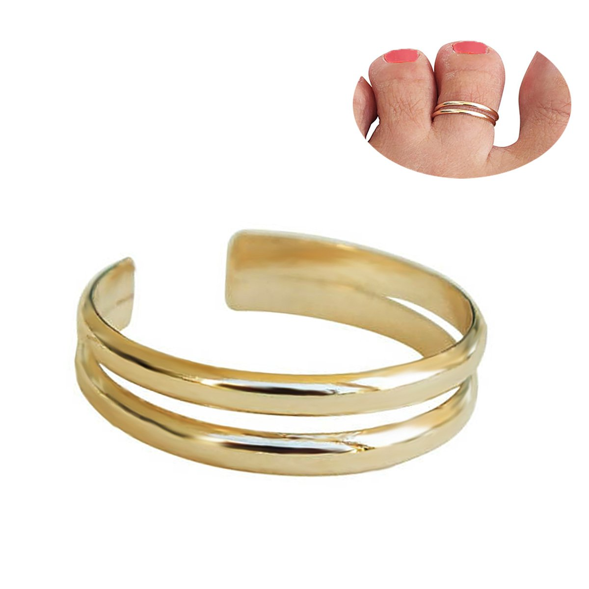 YCQHIKER Toe Ring, Midi Ring Knuckle Ring, Adjustable Ring Two Bands Ring Double Band Ring Double Lines Ring YCQHIKER Gold Toe Ring Double Lines Ring (gold) Riding Store