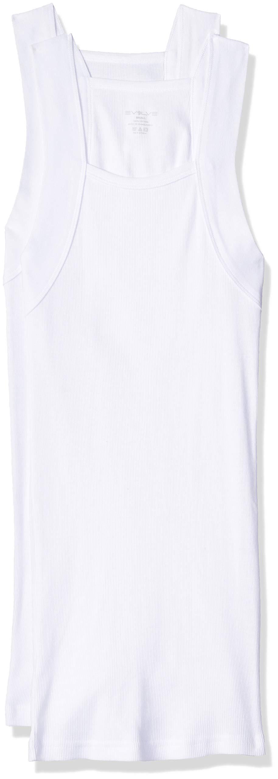 EVOLVE Men's Cotton Comfort Square Cut Tank Multi Pack, White, Medium by EVOLVE