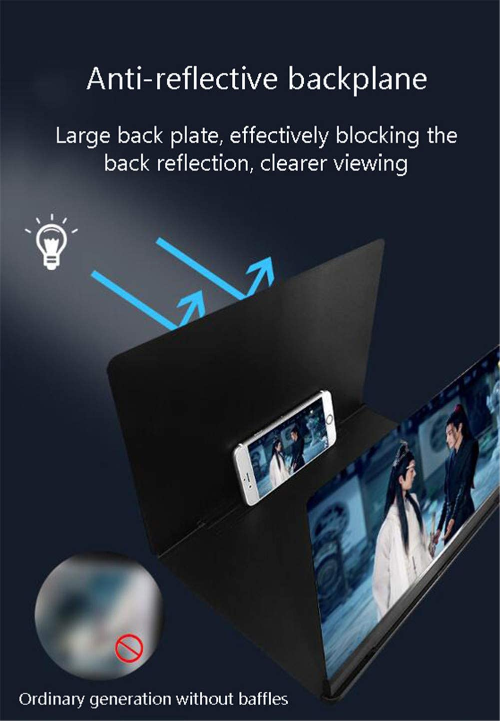 DevileLover Phone Screen Magnifier Protect Eyes Anti-Blue Light Enlarger Screen 16 inch 3D HD Movie Video Amplifier Zooms 3-4 Times Foldable Stand Holder Amplifier Screen