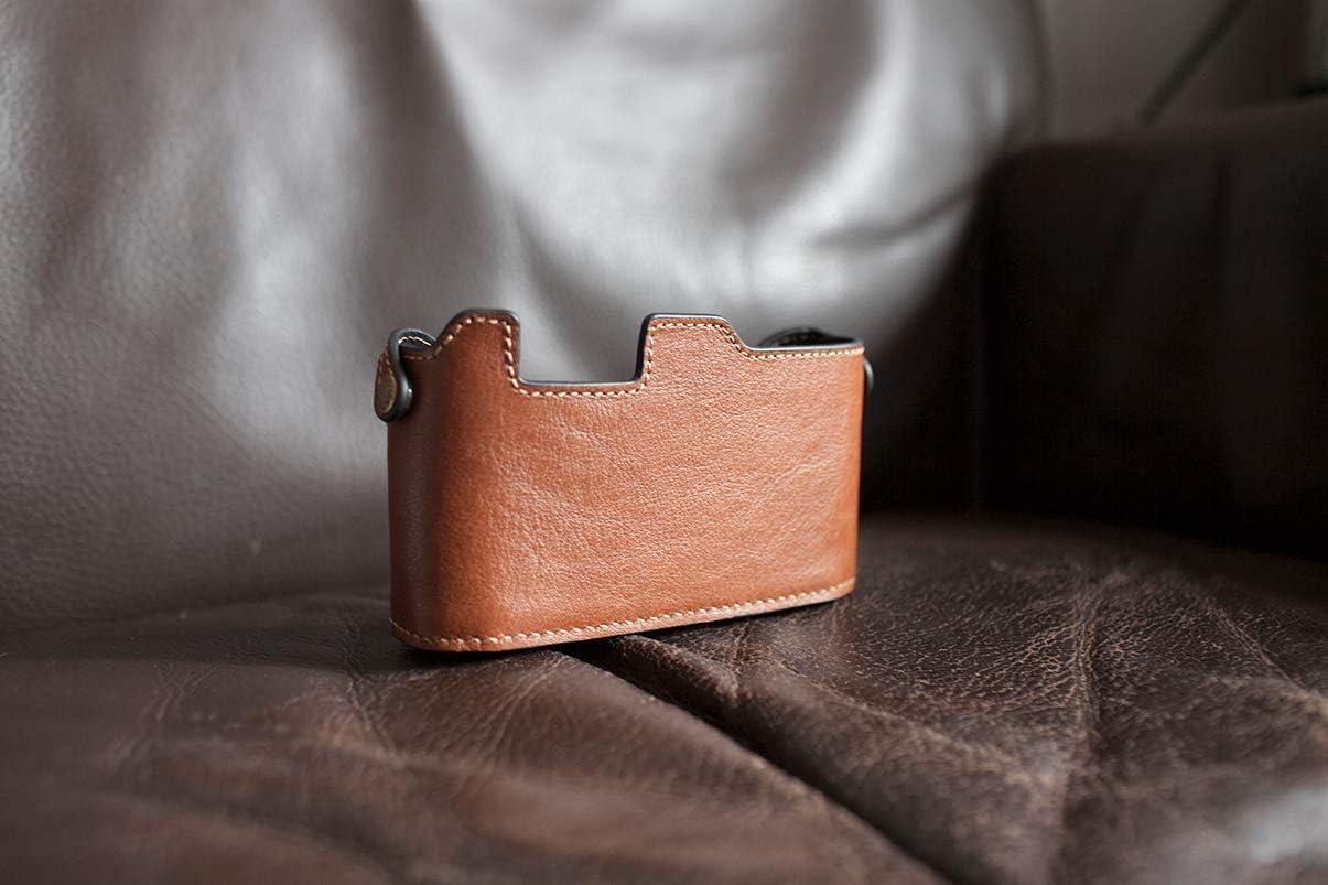 Handmade Genuine Real Leather Half Camera Case Bag Cover for Voigtlander Bessa R Dark Brown