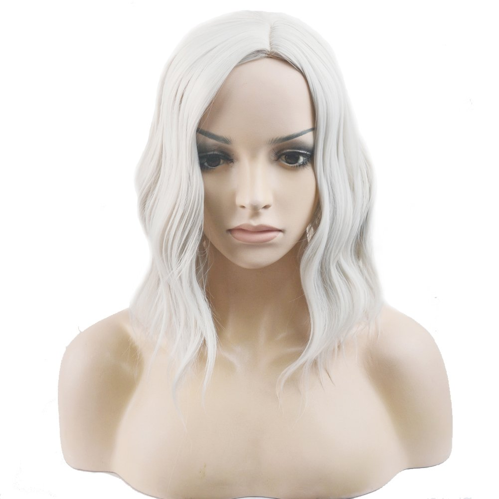 BERON Short Curly Bob Wig Charming Women Girls Beach Wave Wigs for Cosplay Costume Party Wig Cap Included (Silver White)
