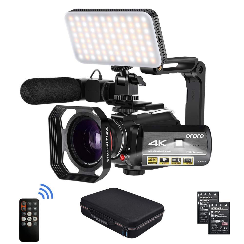 Camcorder 4k Video Camera, ORDRO HD 1080P 60FPS Vlog Camera IR Night Vision Video Recorder 3.1'' IPS WiFi Camcorder with Microphone, LED Light, Wide-Angle Lens, Handheld Holder and Carrying Case by ORDRO
