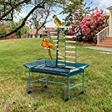 JKNA 53'' Large Bird Play Stand Parrot Pet Gym Perch w/Wheel Bowl Ladder Swing