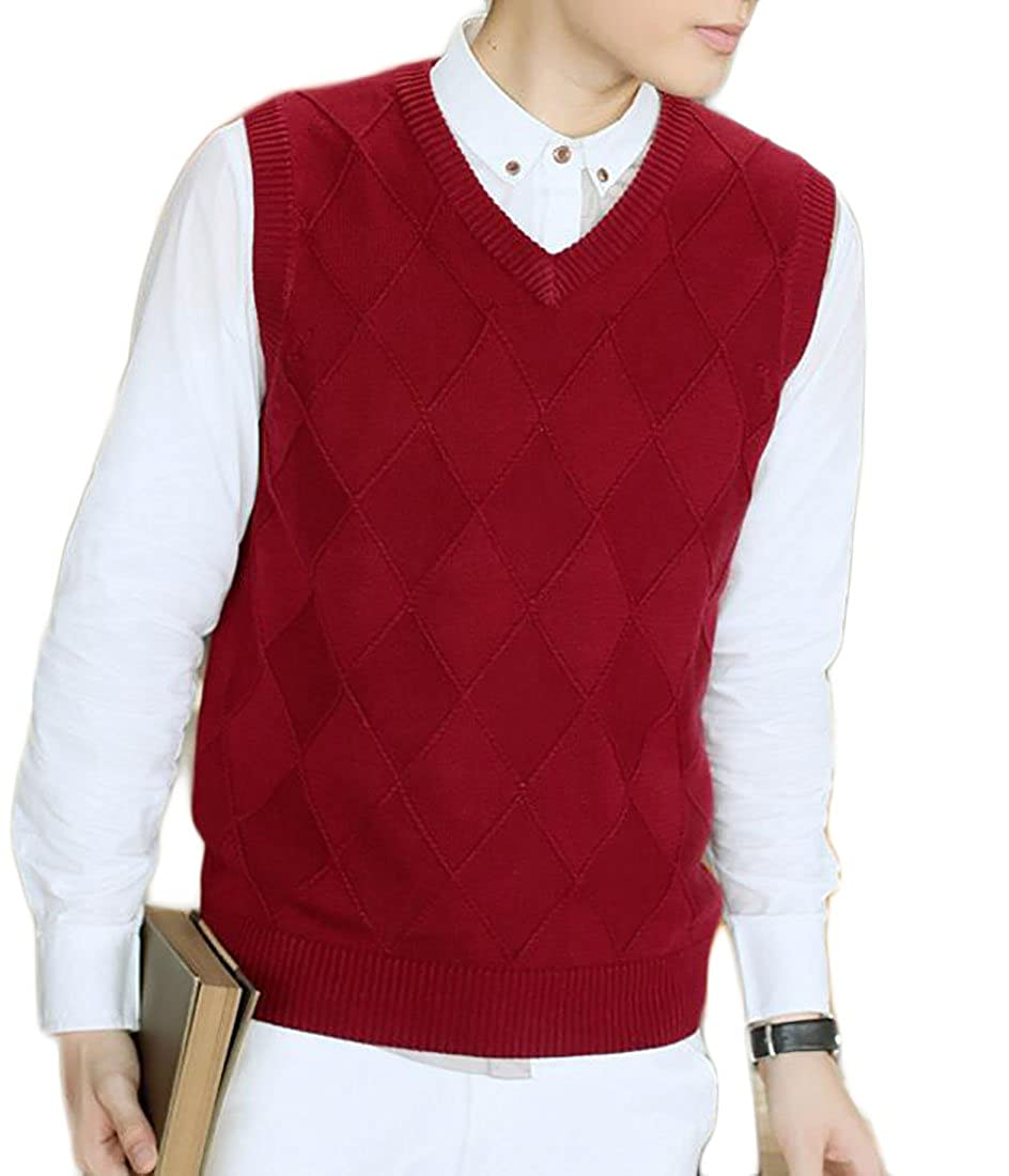 LD Mens Solid V-Neck Sleeveless Knitted Pullover Sweater Vest ...