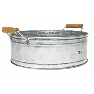 Round Metal Bucket Tray - Galvanized Farmhouse Decor with Wooden Handles for Bathroom Vanity, Centerpiece, Coffee Tables, Kitchen Island, Pantry Storage, Towel display - Rustic style by H & K Designs