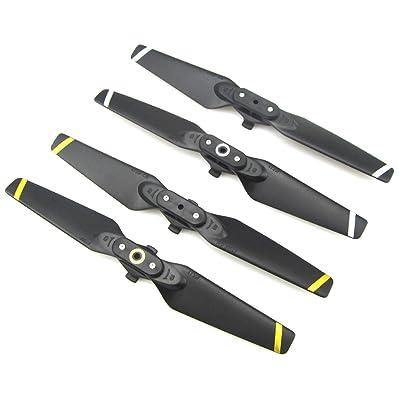 Rantow 4 pièces pliable CW CCW Hélice pour DJI Spark Drone Ensemble de protège-lames pliable à dégagement rapide (Yellow+White Stripe)