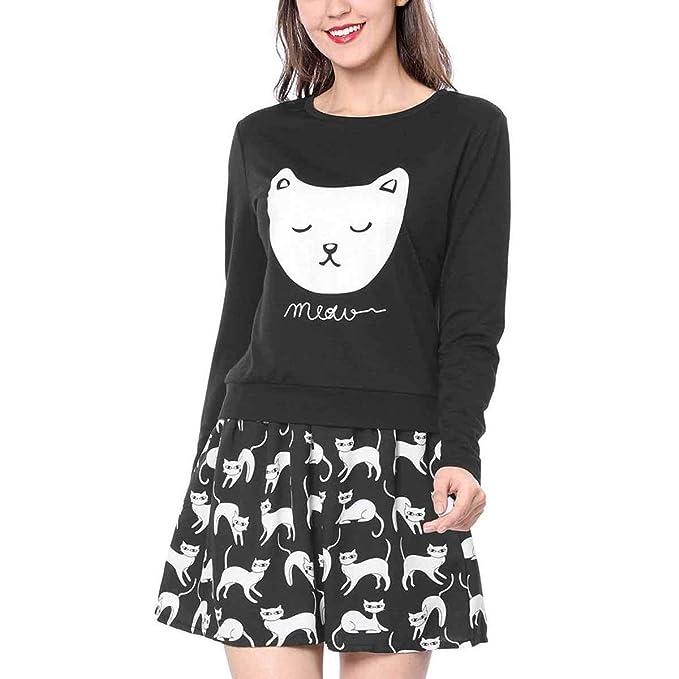 Enosiegoiw Sudadera con Estampado de Gatos Sudadera con Estampado de Gatos con Estampado de Gatos Sudaderas con Capucha de Mujer con Cuello O Cuello: ...