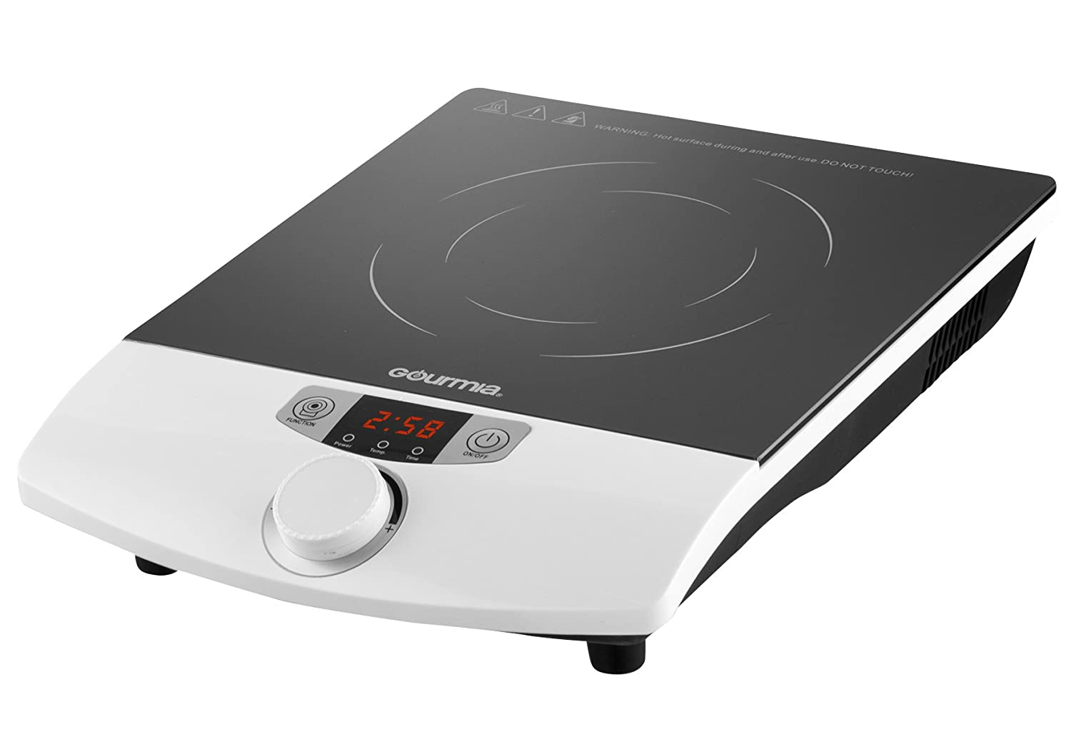 Gourmia GIC100 Multifunction Portable Induction Cooker - Cooktop Countertop Burner - SmartSense Auto Detection, Timer, Temperature & 8 Power Level Controls - 1800W