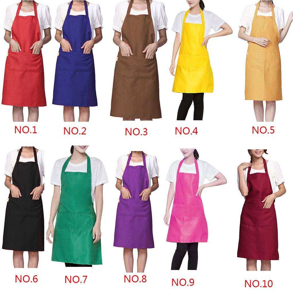 Vkospy Solid Color Simple Design Halter Neck Apron Polyester Waiter Baker Chefs Full Bib Front Pocket