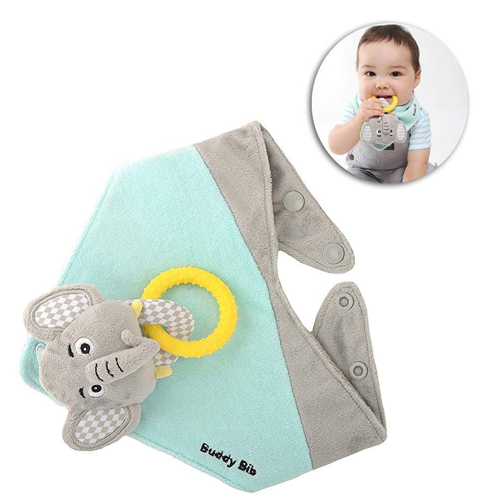 The Makers of the Munch Mitt Introduce the Buddy Bib, 3 in 1 Bandana Drool Bib - Stuffed Animal, Teething toy, Pacifier Holder - Eli Elephant Malarkey Kids