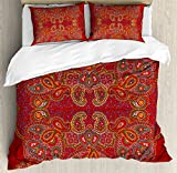 Ambesonne Red Mandala Duvet Cover Set King Size, Moroccan Persian Design Oriental Rectangular Paisley Floral Print, Decorative 3 Piece Bedding Set with 2 Pillow Shams, Burngundy Blue and White