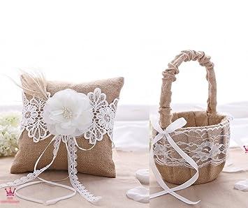 Amazoncom Rustic Wedding Hessian Burlap Lace Ring Pillow Flower