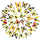MiniPoco 30Pcs 3D DIY Decal Wall Stickers Rainbow Butterfly Magnetic Stickers Refrigerator Room Home Decor 6CM (Yellow)