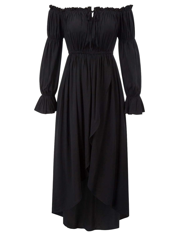 KANCY KOLE a Maniche Lunghe Vestito da Donna in Stile Vittoriano Gotico Senza Spalline