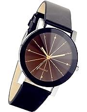 BLACK MAMUT Reloj Retro Vintage Elegante Minimalista Correa de Vinipiel Negro Zirconias Mov. Análogo
