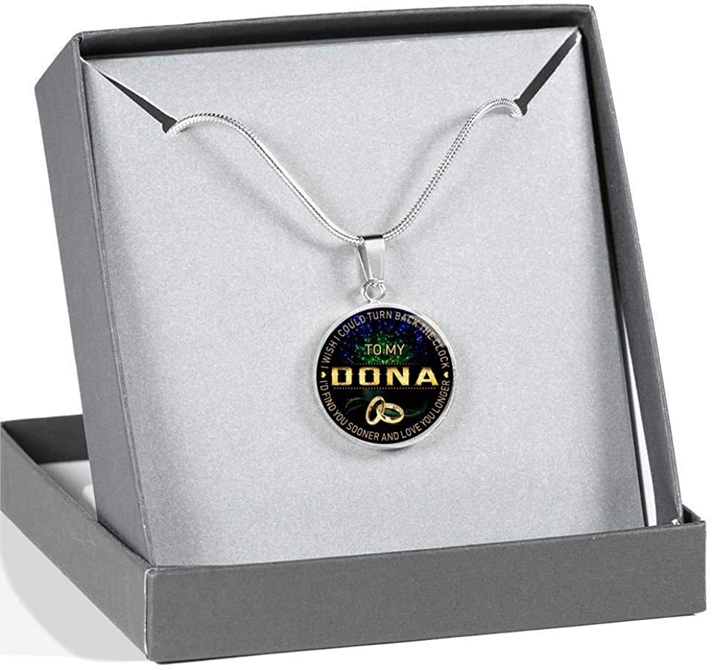 Funnyd Charm Necklace Jewelry Gift for Women HusbandAndWife Gifts Necklace for Mom and Daughter to My Deanne I Wish I Could Turn Back Clock I Will Find You Sooner 18K Gold Plated