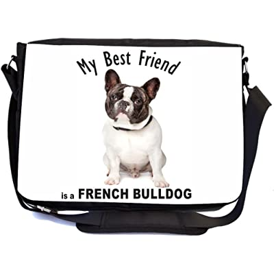 delicate Rikki Knight My Best Friend French Bulldog Grey and White Design Multifunctional Messenger Bag - School Bag - Laptop Bag - with padded insert for School or Work - Includes Matching Compact Mirror