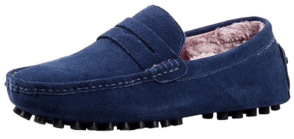 2088W Mens Plus Wool Loafers Flat Stylish Casual Slip-on Moccasins Driving Sneakers