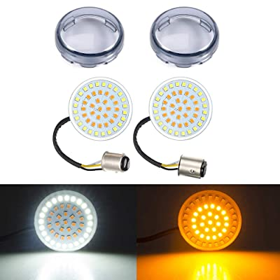 Amazicha 1157 2 Inch LED Turn Signals, Bullet Amber Turn Signal Light White Running Light, 2 PCS Tint Smoke Lens Cover Compatible for Harley Davidson Softail Dyna Sportster Touring: Automotive