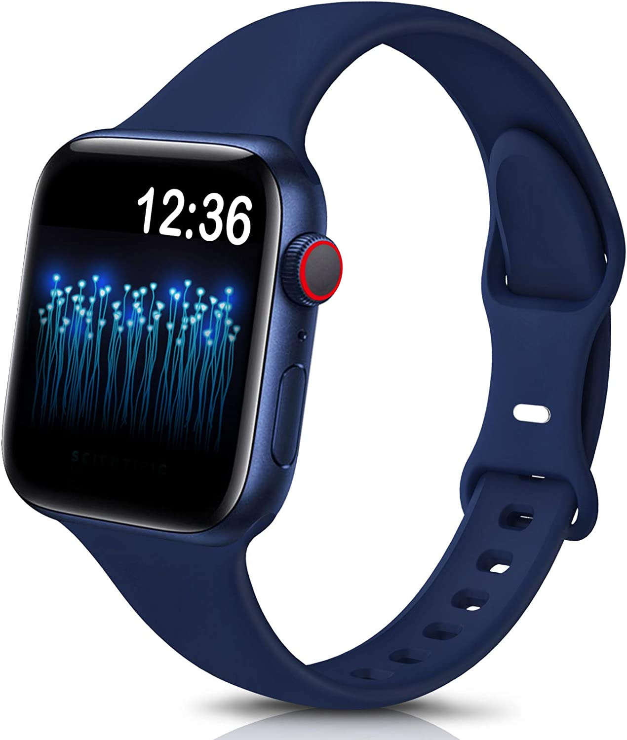 Sport Band Compatible with Apple Watch Bands 38mm 40mm 42mm 44mm,Soft Silicone Narrow Slim Thin Small Strap Wristbands for Iwatch Series 6 5 4 3 2 1 SE, Women Men