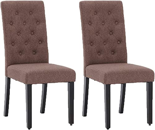 Fabric Dining Parsons Chairs Modern Tufted Solid Wood Per-Home Dining Room Living Room Set of 2 Brown