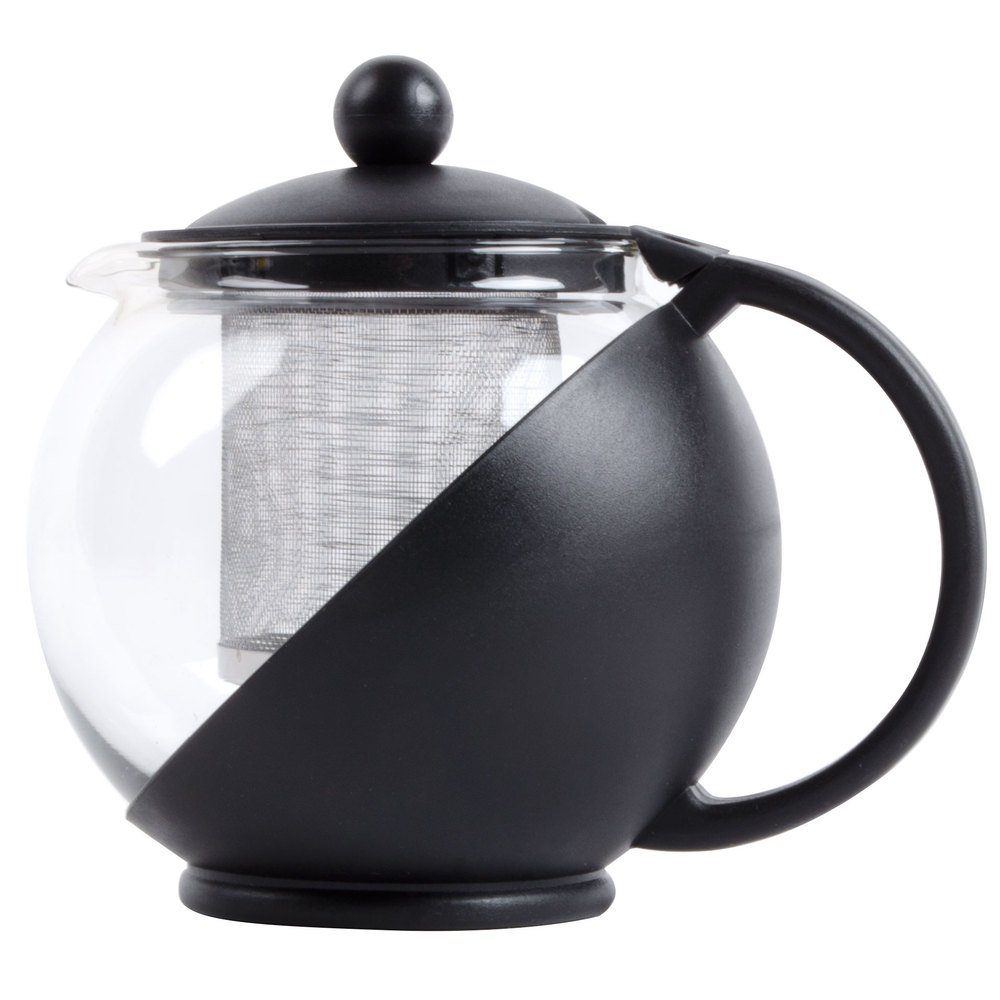 Tempered Glass 5-Cup Tea Pot w/ Removable Steel Infuser, 40 Fluid Ounces by Pride Of India