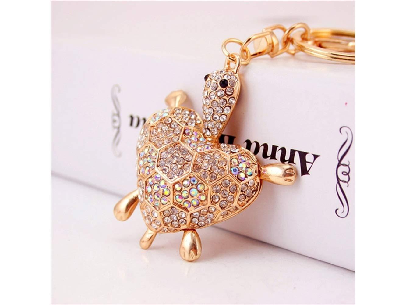 Car Keychain, Cute Diamond Love Back Shell Turtle Keychain Animal Key Trinket Car Bag Key Holder Decorations(White) for Gift