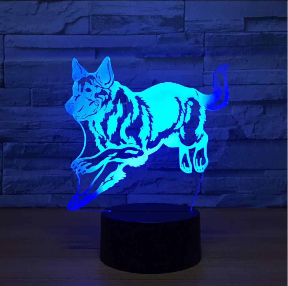6074184361 Shuyinju Perro Encantador 3D Luz De La Noche 7 Cambio Cambio Cambio De  Color Lámpara 3D Led Remote Touch Usb ...