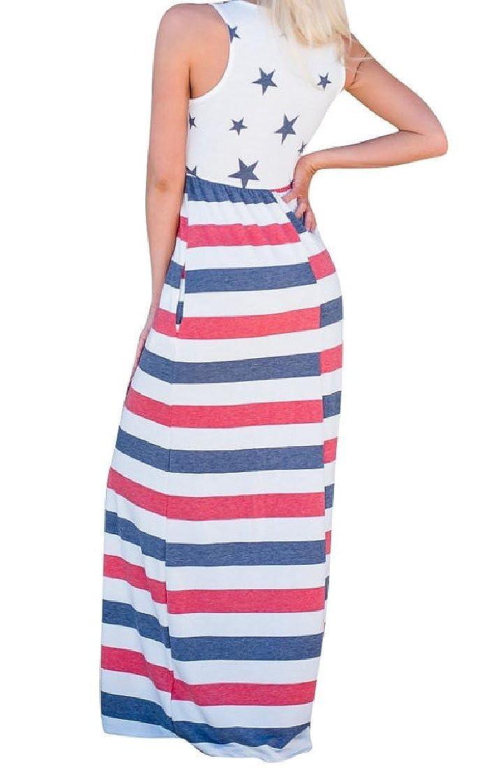e74149091b4 Yusky Womens July 4th Sleeveless Summer Tunic Patriotic Maxi Dress at  Amazon Women s Clothing store