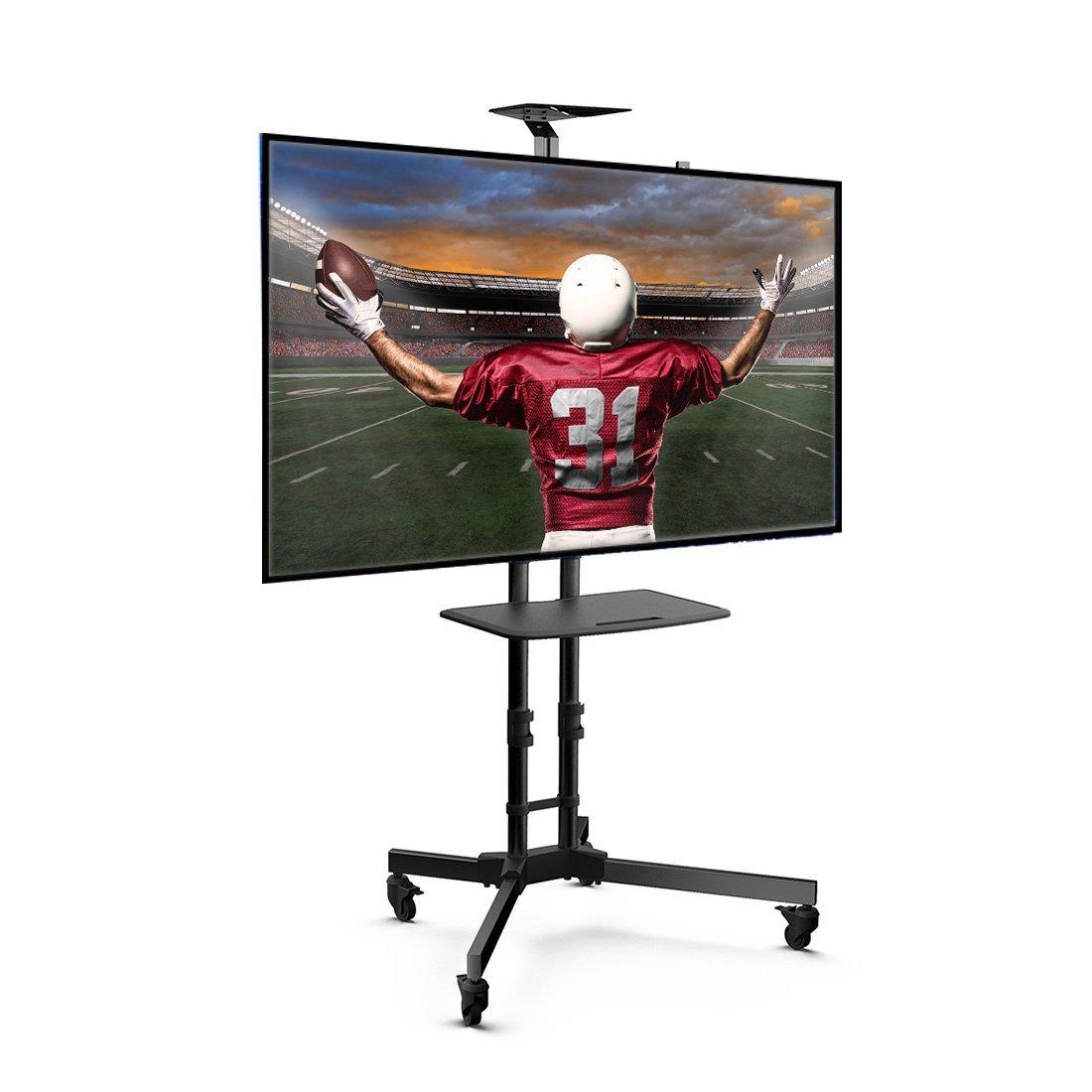 高さ調節可能な棚とフラットスクリーンマウント付きユニバーサルモバイルTVスタンドTVカート - 3265インチLED、最大VESAサイズ600 x 400 mmの液晶テレビに対応 B07R9WSD5Y
