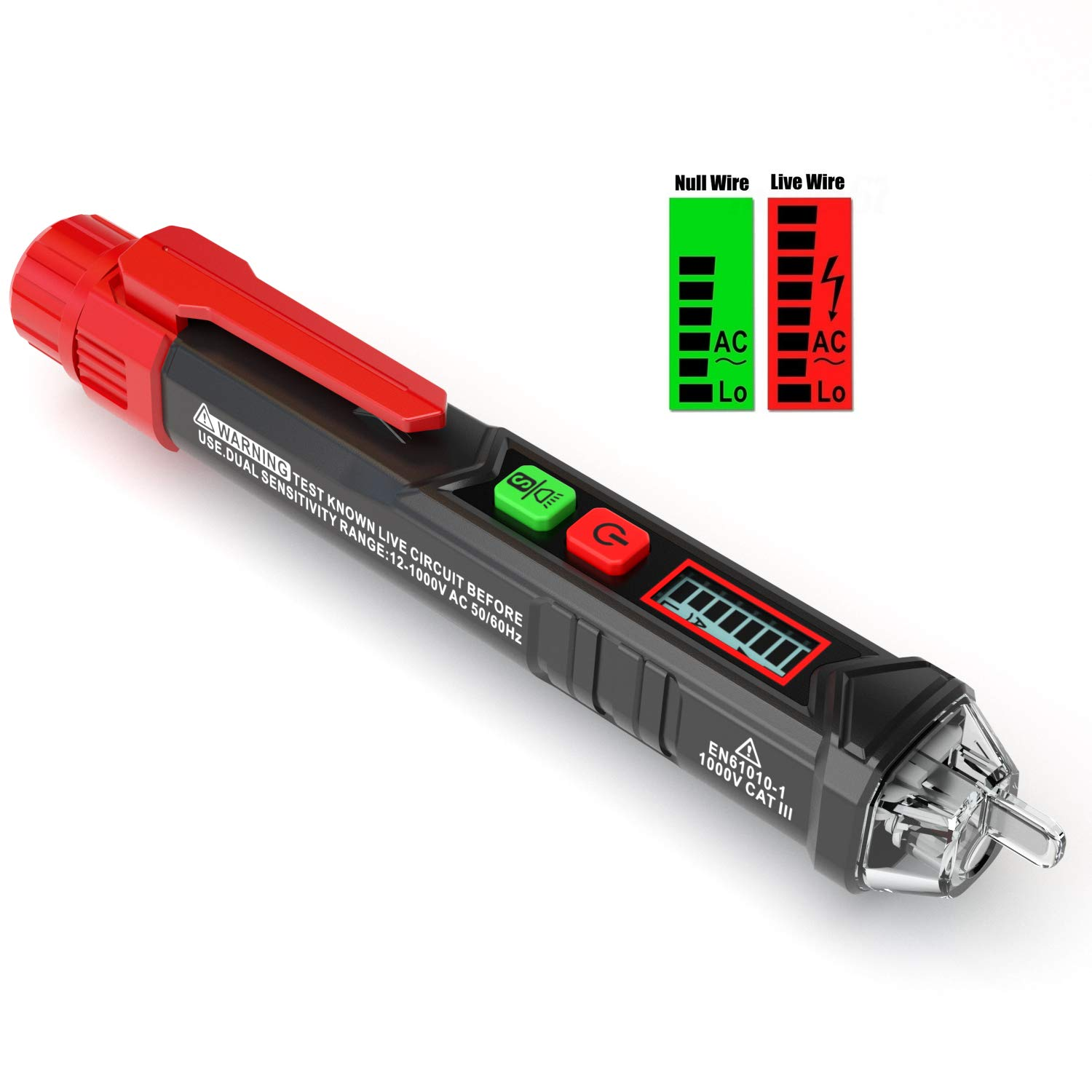KAIWEETS Sensitive and Adjustable Non-contact Voltage Tester With LCD Display, LED Flashlight, Buzzer Alarm that Have 12V-1000V/48V-1000V Dual Range& Live/Null Wire Judgment by KAIWEETS