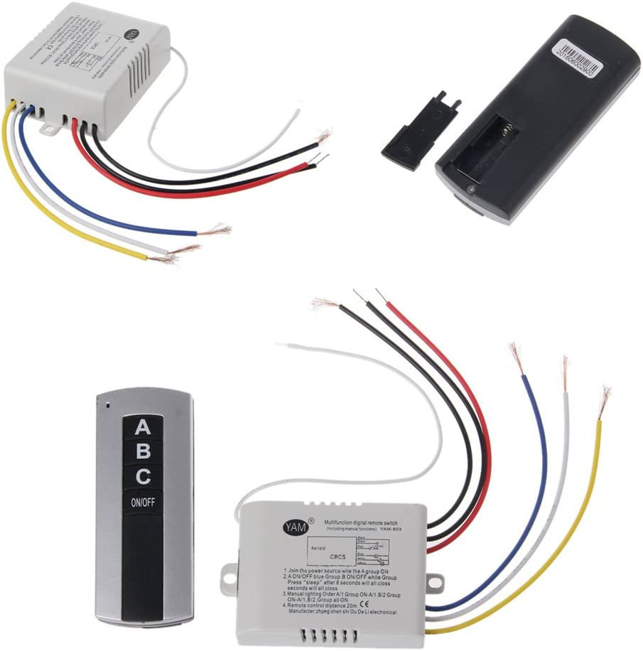 siwetg Wireless 3 Channel ON/OFF Lamp Remote Control Switch ...