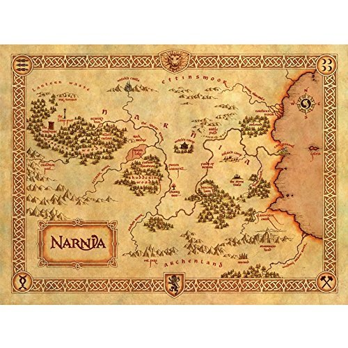 Unknown Travel / Art Silk Poster / Cuadros Decoracion Classic Narnia Treasure Map Home