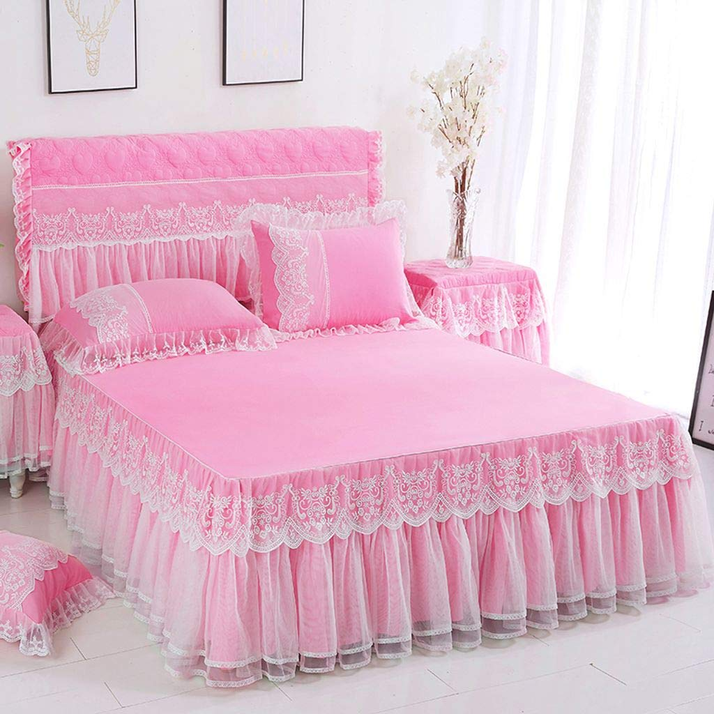 QXJR Bed Skirts,Valance Sheet Box,Solid Color Lace Bed Skirts Princess Bed Cover Ruffled Wrap Around Bed Mattress Cover-Medium powder-180Cmx200Cm+2pillowcase by QXJR