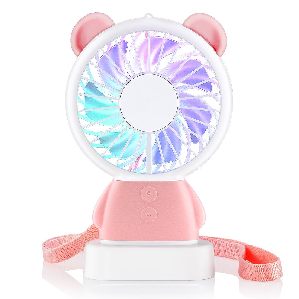 RYE Mini Handheld Fan, Tech Personal Portable Rechargeable Fan with Color LED Light 2 Adjustable Speeds Standing Base for House Travel Camping and Children Gifts - Pink Bear